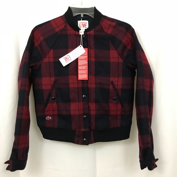 e385a88be8 Lacoste Live Plaid Wool Blend Bomber Jacket NWT